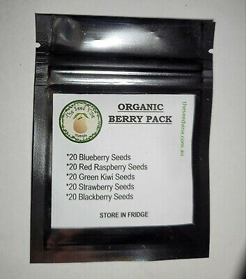 ORGANIC BERRY FRUIT SEEDS PACK (Mulberry Raspberry Blueberry Black & Strawberry)