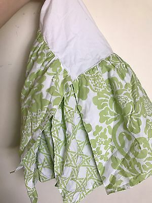 Land of Nod LIME GREEN FLORAL CRIB SKIRT Ruffle Nursery Baby Bedding REVERSIBLE