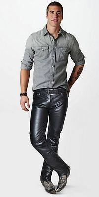 Mens Premium Cowhide Leather Pants Skin Fit Slim Fit Biker Style
