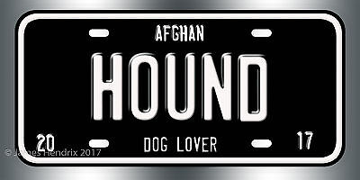Afghan Hound Dog Breed License Plate  Red Blue Green Yellow Black