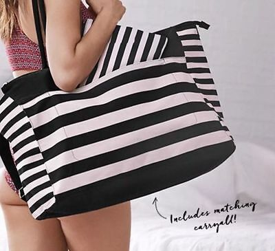 Victoria's Secret Striped Pink & Black Getaway Tote Bag Weekender