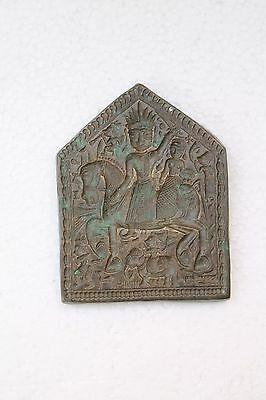Antique Old Brass Big Goddess Deep Engraved Jewellery Dye / Mold / Seal NH3322