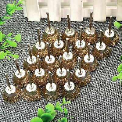 20Pcs Brass Wire Cup Brushes 3mm Shank Mandrel Die Grinder Power Rotary Tool