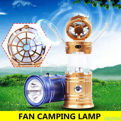 Portable Lantern Fan 2 in 1 6 LED Rechargeable Flashlight Solar Powered Camping