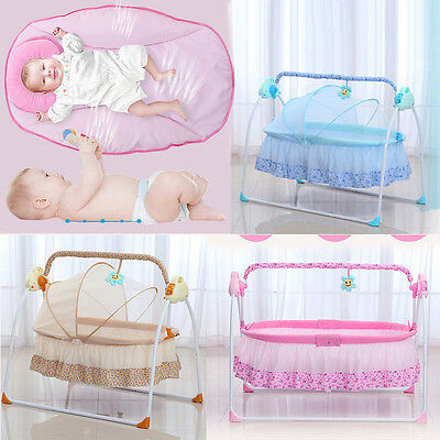 Electric Big Space Baby Crib Cradle Infant Rocker Auto-Swing Sleep Bed Baby Cot