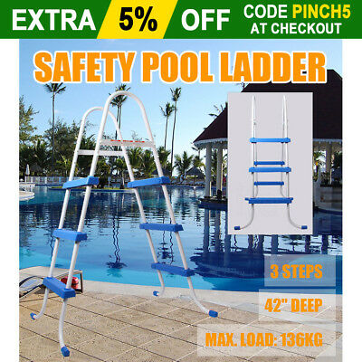 """Safety Ladder Above Ground Swimming Pool 36"""" 42"""" with Removable Non-Slip Step AU"""