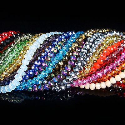 Lots 200X Crystal Faceted Glass Beads Loose Spacer Rondelle Findings 6*4mm
