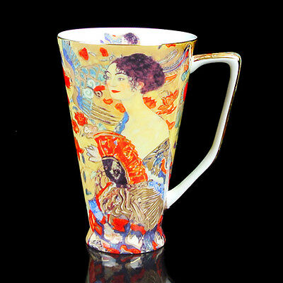 Gift Excellent Bone China 500ML Big Mug of Lady with Fan by Gustav Klimt