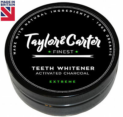 Taylor & Carter Activated Charcoal Teeth Whitening Powder Black Tooth paste tin