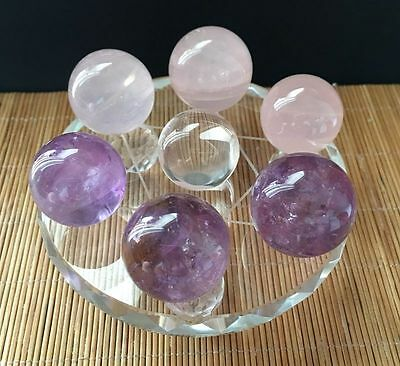 25MM Seven Star Array Natural STAR Rose Quartz Crystal Ball with Plate
