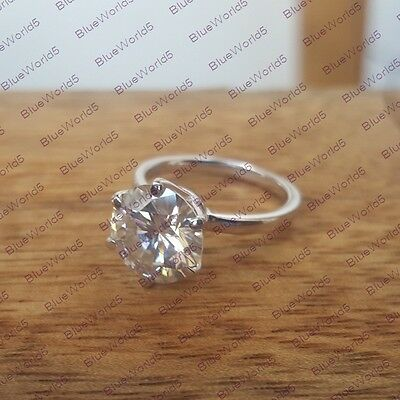 3Ct Round Brilliant Cut Moissanite Solitaire Engagement Ring 925 Sterling Silver
