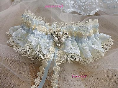 Wedding Garter 'harriet' Ivory Blue  Lace Pearl Vintage Luxury Bridal Gift