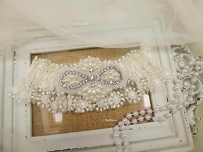 Wedding Garter 'bethan' Ivory Lace Pearl Crystal Vinatge Luxury Bridal Gift