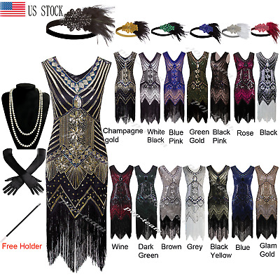 1920s Flapper Beaded Dress Gatsby Wedding Party 20's Prom Formal Evening Dresses