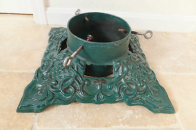 "Vintage Cast Iron Metal Green Heavy Duty Christmas Tree Stand 15"" Square"