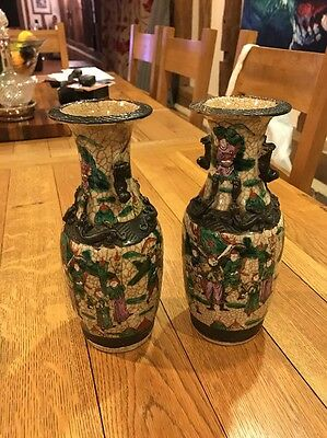 Pair Of Antique Chinese Vases - Character Marks To Base