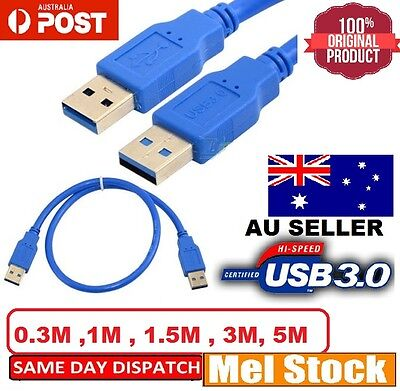 0.3M 1M 1.5M 3M 5M USB 3.0 Data Cable SuperSpeed - A Male to A Male - AUZ STOCKS