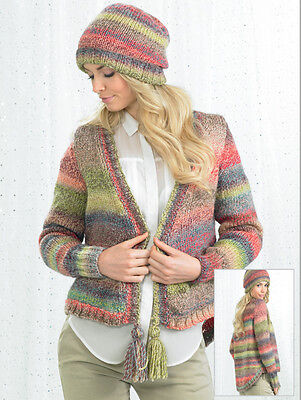 Knit Kit. Marble Chunky Jacket with Tassels (JB245). Choice of size/colour