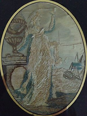 Antique English Needlework Lady With Urn And Ship