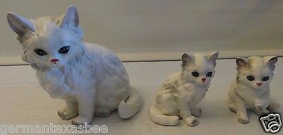 Vintage Lefton Hand Painted Ceramic White Persian Cat Figurines 1514 1513 Japan