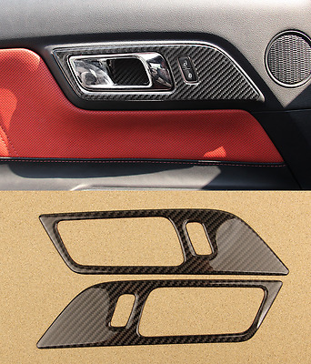 2pc Car Interior Door Edge Stickers Carbon Fiber Cover ZB For Ford Mustang 15-17
