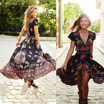BOHO Women's Vintage Long Maxi Evening Party Beach Dress Floral Printed Sundress