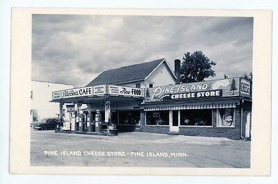 MN, Pine Island. PETERSON'S CAFE, CHEESE STORE, GAS STATION. Real Photo Postcard