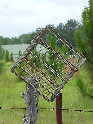 Vintage Wire Metal Dairy Milk Bottle Carrier Crate Basket Container 3 Available