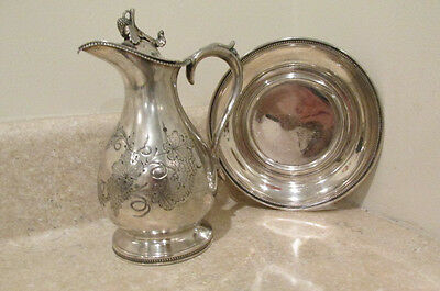 """S25 Antique Silver Grapes Vines Syrup Pitcher Jug With Tray """"harriet"""""""