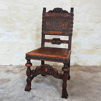 Jacobean Style Leather & Carved Oak Chair - Late C19th Victorian (Antique)