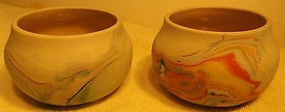 """Two Vintage Beautiful Nemadji Pottery Vases Bulbous Shape 3"""" Tall by 5"""" in dia"""