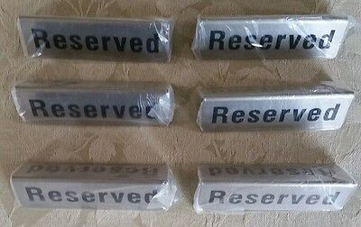 "Reserved Table Sign Tent Lot -6 Stainless Steel 4.75x1.5"" Party Restaurant Metal"