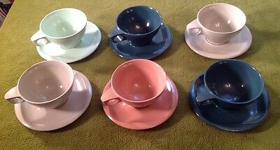 Vintage Boontonware Set of 6 Cups & Saucers + 3 Extra Cups, Excellent Condition!