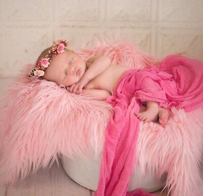 """Pink, Faux Fur, Mongolian, Newborn Photography's props 18""""x 20"""" Inches"""
