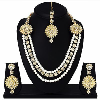 Indian Bollywood Fashion Wedding Gold plated Bridal Necklace Earrings Jewelry