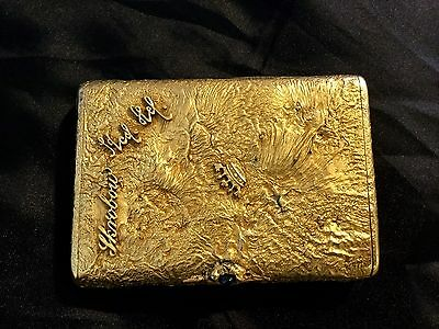 Antique Russian  Gilded Silver Cigarette Case, Gold Initials,marked 84 As-Is