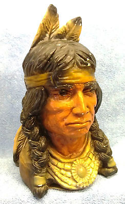 Vintage Hand Painted Chalk Indian Bust, Excellent Condition!