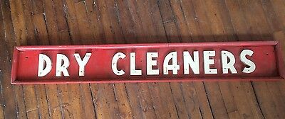 Vintage Wooden Dry Cleaners Store Sign AAFA Folk Art Hand Made Original Signage