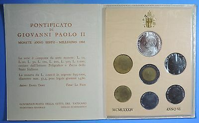 1984 Vatican City Pope John Paul II 7 Coin Uncirculated Set BU Silver 1000 Lire