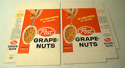 RARE Vintage 1962 Post Grape Nuts UNUSED Cereal Box (10 1/2 oz Size) v.1