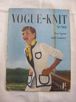 Vintage 1950's Vogue Vogue-Knit Knitting Pattern Booklet - For Sport & Country