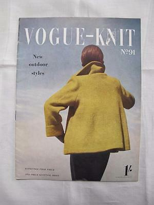 Vintage 1950's Vogue Vogue-Knit Knitting Pattern Booklet - New Outdoor Styles