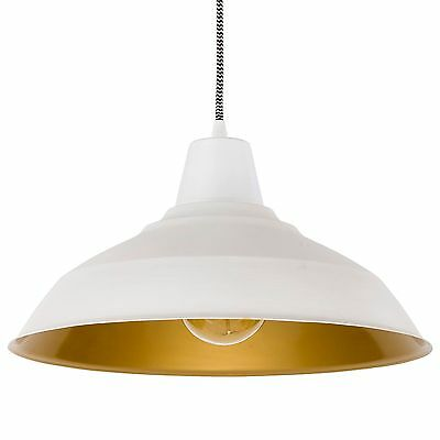 Retro Vintage Industrial Metal White Pendant Light Ceiling Lamp Lampshade French