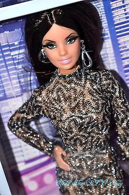 The Barbie Look City Shine Brunette Barbie Doll In Black Lace Dress Cfp38