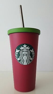 Starbucks 2014 Matte Pink & Green 16 oz Stainless Steel Cold Cup New