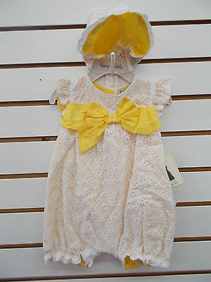 Infant Girls Harry & Violet $36 White & Yellow Outfit 2pc Set Szs 3/6M-6/9M