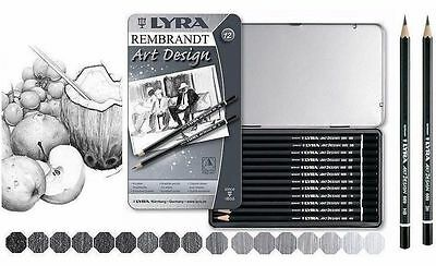 Lyra Rembrandt Art Design Ideal For Drawing & Sketching 12 Pencils Tin 6B to 4H