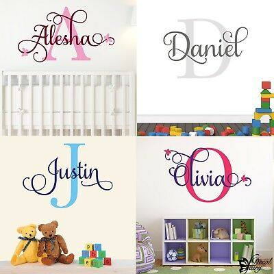 Wall Sticker Personalised Name First Initial Girls Vinyl Decal