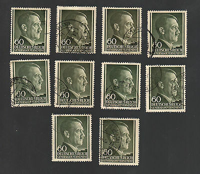 WWII Occupied Poland - Lot of 10 Stamps 60 Groszy with Hitler's Head - #14