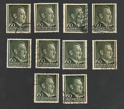WWII Occupied Poland - Lot of 10 Stamps 60 Groszy with Hitler's Head - #15